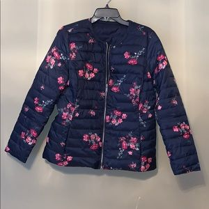 Charter Club Navy Floral Reversible Quilted Jacket